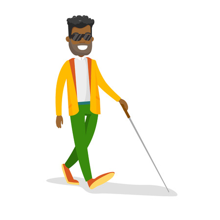 African-american blind businessman strolling with a walking stick. Young blind man in dark glasses walking with a cane. Disability concept. Vector cartoon illustration isolated on white background. Illustration