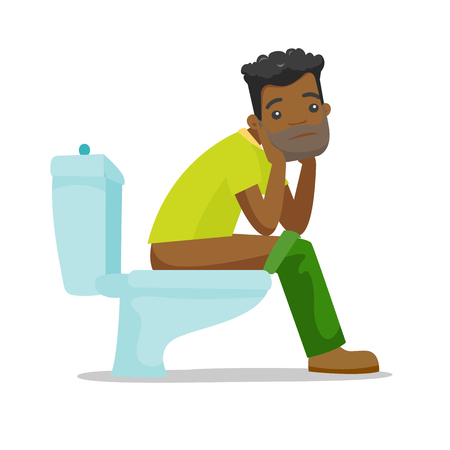 African-american man sitting on the toilet bowl and suffering from constipation. Young man suffering from diarrhea. Vector cartoon illustration isolated on white background. Stock Illustratie