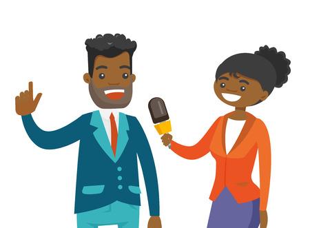 Młoda reporterka afro-amerykańska z mikrofonem przeprowadzająca wywiad z mężczyzną. Dziennikarz przeprowadzający wywiad z biznesmenem. Wektor ilustracja kreskówka na białym tle. Układ poziomy.