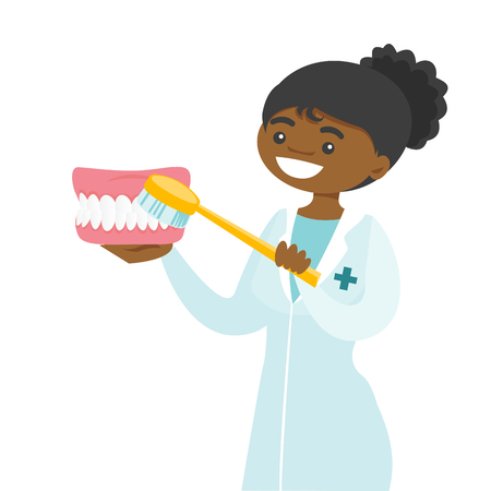 Young female african-american dentist cleaning dental jaw model with a toothbrush. Dentistry, medicine and tooth care concept. Vector cartoon illustration isolated on white background. Square layout.