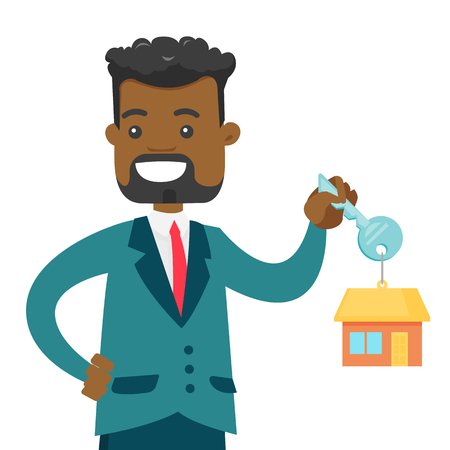 Young happy African-american owner holding key to his new house. Smiling buyer with keys and trinket in the shape of house. Vector cartoon illustration isolated on white background.
