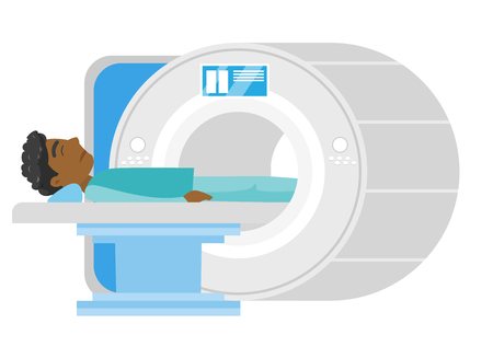 Young frightened african-american man undergoes a magnetic resonance imaging scan test. MRI scanner scanning a patient. Health care concept. Vector cartoon illustration isolated on white background.