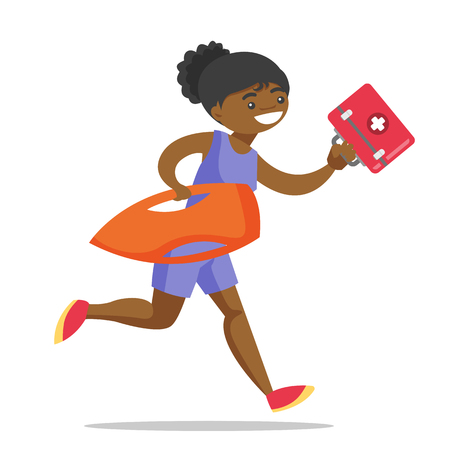 Young african-american female lifeguard in red swimsuit running with life preserver buoy and first aid box. Professional rescuer holding lifesaver equipment. Vector cartoon illustration. Square layout Ilustracja