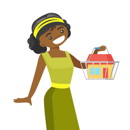 Young african-american woman buying a new home. Woman holding a shopping basket with a house. Real estate purchase concept. Vector cartoon illustration isolated on white background. Square layout. Vettoriali