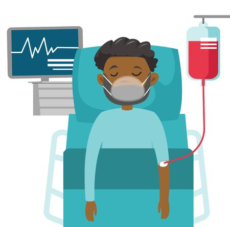 African-american man in coma lying in bed with a heart rate monitor in the hospital. Patient during blood transfusion procedure. Health care concept. Vector cartoon illustration. Horizontal layout. Illustration