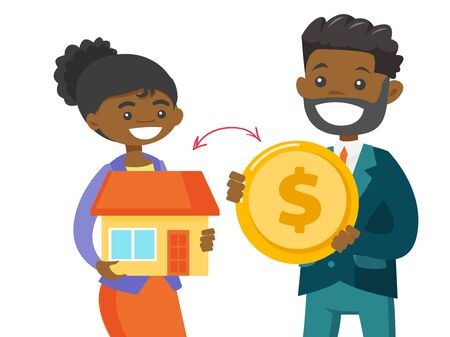 African-american real estate agent exchanging a house to a dollar coin of a client. Conclusion of real estate deal between realtor and buyer. Vector cartoon illustration isolated on white background.