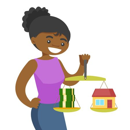 African-american woman holding scales with stack of money and the model of house. Woman choosing between savings and real estate investment. Vector cartoon illustration isolated on white background. Stock Illustratie
