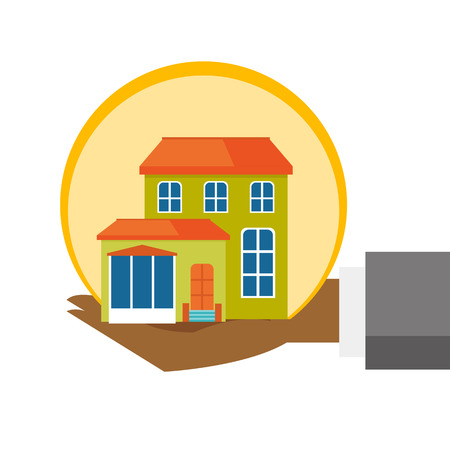 Hand of insurance agent with house model. Miniature house in human hands. Property insurance and security concept. Vector cartoon illustration isolated on white background. Square layout. Illustration