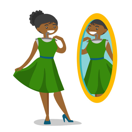 African-american woman trying on dress and looking at herself in the mirror in the dressing room. Woman choosing clothes in the dressing room. Vector cartoon illustration isolated on white background. Stock Illustratie