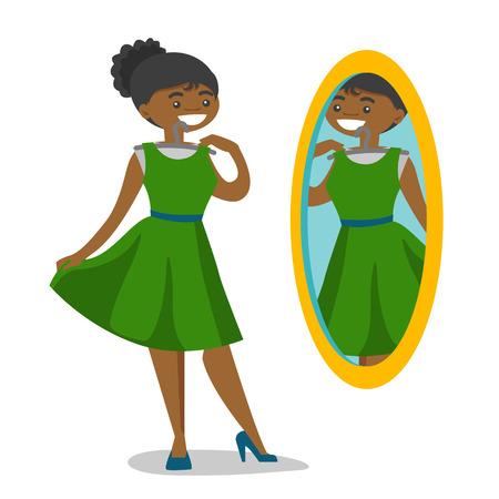 Mujer afroamericana probándose el vestido y mirándose en el espejo en el vestidor. Mujer eligiendo ropa en el vestidor. Ilustración de dibujos animados de vectores aislado sobre fondo blanco.