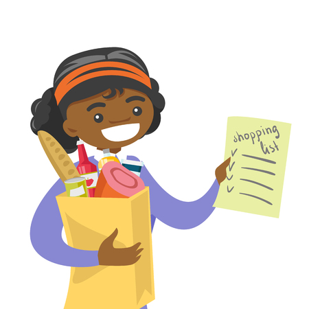 Young african-american woman checking shopping list in the grocery store. Smiling woman holding shopping list and paper bag with products.