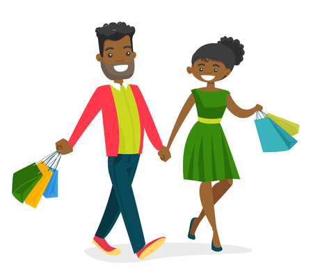 African-american couple walking with colorful shopping bags. Young woman and man having fun while doing shopping together. Vector cartoon illustration isolated on white background.