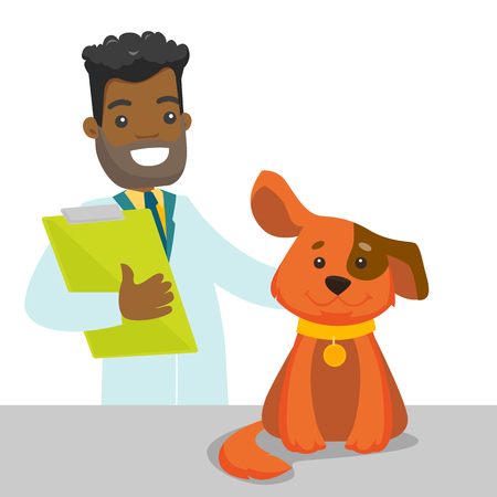 African-american veterinarian doctor examining the dog in the hospital. Veterinarian doctor stroking the dog at vet clinic. Concept of medicine and pet care. Vector cartoon illustration.
