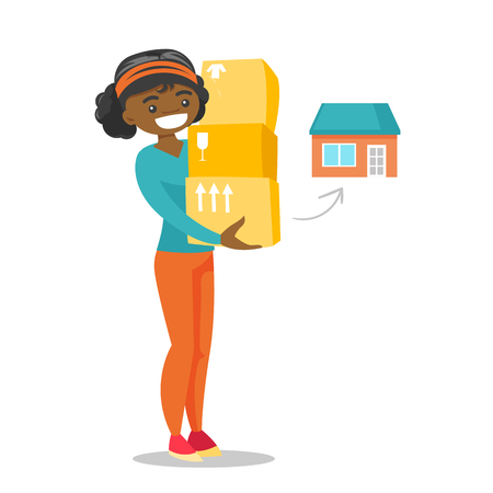 Young African-american woman moving to a new house and carrying boxes. New homeowner holding cardboard boxes. Vector cartoon illustration isolated on white background.