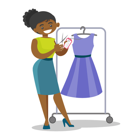 Young african-american woman removing price tag off new dress. Happy woman cutting price tag off new cloth with scissors. Vector cartoon illustration isolated on white background. Square layout. Illustration