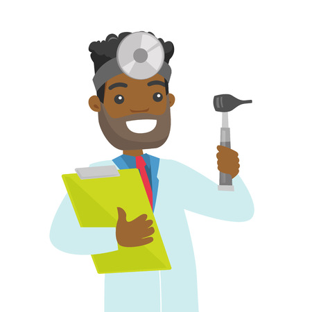 Young African-american otolaryngologist doctor holding clipboard. Audiologist doctor in medical gown with tools used for examination of ear, nose, throat. Vector cartoon illustration. Illustration