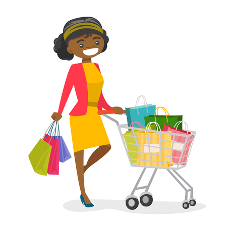 Happy African-american woman pushing cart full of shopping bags. Young smiling consumer standing with a lot of shopping bags. Vector cartoon illustration isolated on white background.