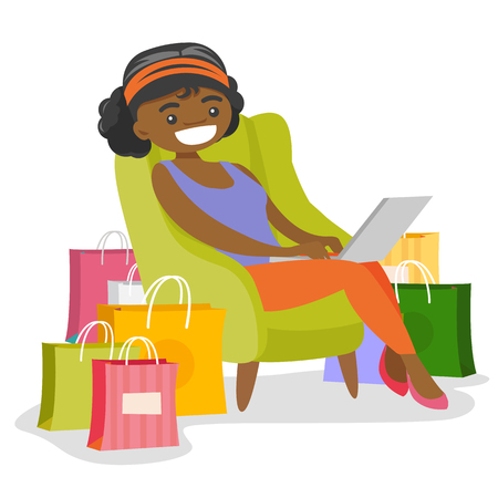 Young African-american woman sitting on the armchair among shopping bags with a laptop computer. Woman doing online shopping. Vector cartoon illustration isolated on white background. Illustration