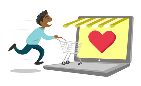 Young African-american man using laptop for online shopping. Happy man running with shopping cart on a laptop computer. Vector cartoon illustration isolated on white background.