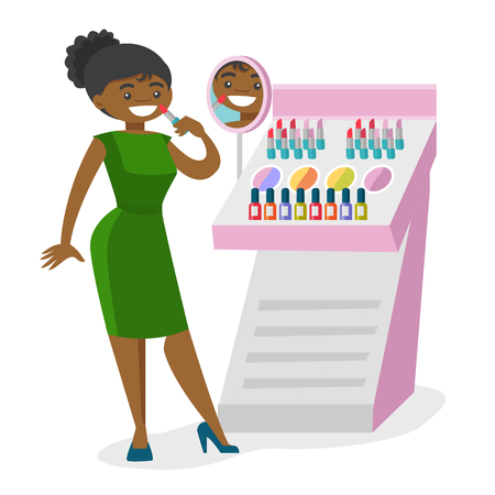 Young african-american woman buying lipstick in a beauty store. Woman testing and choosing lipstick at cosmetics shop. Vector cartoon illustration isolated on white background. Illustration