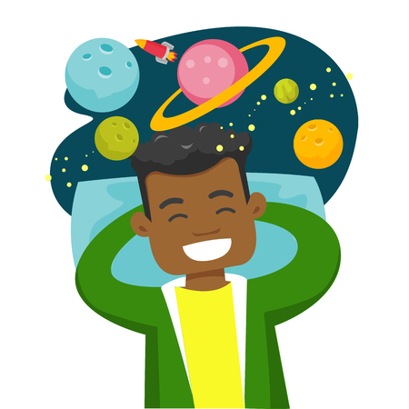 Young African-american sleeping man flying in open space with stars, planets, moon and spaceship. Man has a dream about cosmos. Vector cartoon illustration isolated on white background.