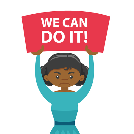 Young African-american aggressive woman holding placard with text we can do it at feminist protest action. Concept of feminism. Vector cartoon illustration isolated on white background.