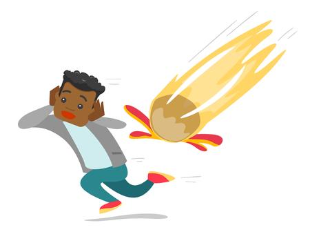 Homme effrayé afro-américain qui court de météorite qui tombe.