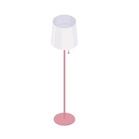 Isometric floor lamp isolated on white background. Vector cartoon illustration or domestic of office floor lamp.