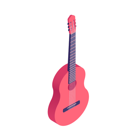 Isometric classical acoustic guitar isolated on white background. Vector cartoon illustration of musical string instrument - acoustic guitar. Illustration