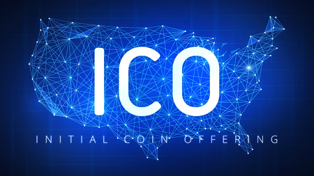 ICO initial coin offering futuristic hud background with USA country map and blockchain peer to peer network. Cryptocurrency ICO coin sale event - blockchain business banner concept. Stock Photo