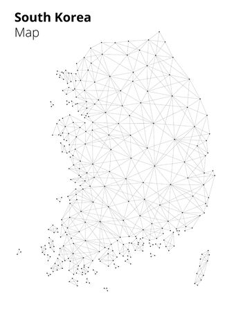 Korea map illustration in blockchain technology network style isolated on white background. Block chain polygon peer to peer network connected lines technique. Cryptocurrency fintech business concept  イラスト・ベクター素材