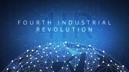 Quarta rivoluzione industriale sull'hud futuristico con mappamondo e rete peer to peer poligono blockchain. Rivoluzione industriale e concetto globale dell'insegna di affari della blockchain di criptovaluta Archivio Fotografico - 99815116