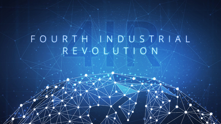 Fourth industrial revolution on futuristic hud with world map globe and blockchain polygon peer to peer network. Industrial revolution and global cryptocurrency blockchain business banner concept
