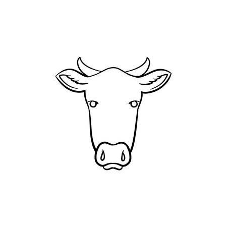 Cow head hand drawn outline doodle icon. Vector sketch illustration of cow head for print, web, mobile and infographics isolated on white background. Illustration