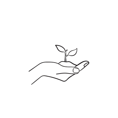 Human hand holding handful of soil with young sprout of plant hand drawn vector outline doodle icon. Seedling sketch illustration for print, web, mobile and infographics isolated on white background.