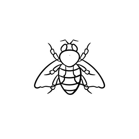 Fly insect hand drawn outline doodle icon.