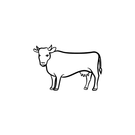 Cow hand drawn outline doodle icon. Farming cattle vector sketch illustration for print, web, mobile and infographics isolated on white background. 일러스트