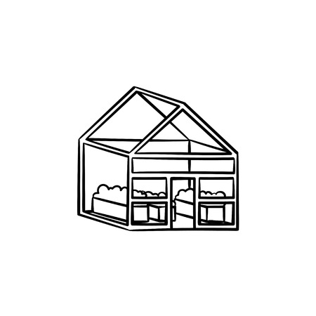 Greenhouse hand drawn outline doodle icon. Illustration
