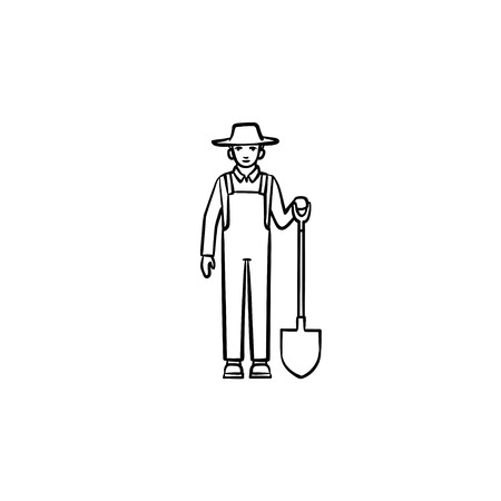 Farmer with shovel hand drawn outline doodle icon.