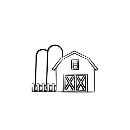Farm shed hand drawn outline doodle icon. Barn vector sketch illustration for print, web, mobile and infographics isolated on white background.