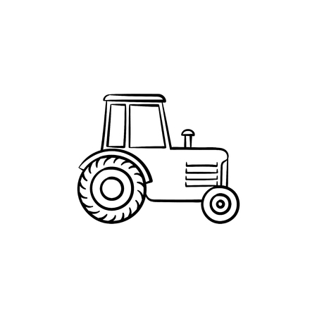 Tractor hand drawn outline doodle icon. Agronomy industry equipment - tractor vector sketch illustration for print, web, mobile and infographics isolated on white background.