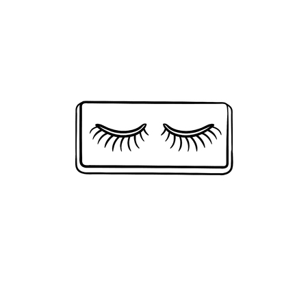 False lashes with glue hand drawn outline doodle icon. Eyelashes vector sketch illustration for print, web, mobile and infographics isolated on white background.