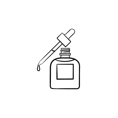 Essential oil and pipette hand drawn outline doodle icon.