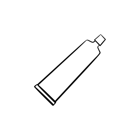 Cream tube hand drawn outline doodle icon.