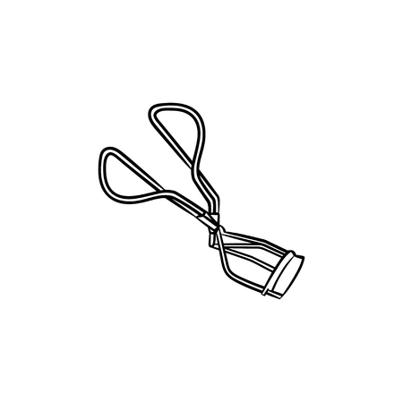 Eyelash curler hand drawn outline doodle icon. Eye curler vector sketch illustration for print, web, mobile and infographics isolated on white background.