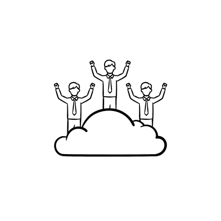 Man dreamer hand drawn outline doodle vector icon. Man on a cloud sketch illustration for print, web, mobile and infographics isolated on white background.