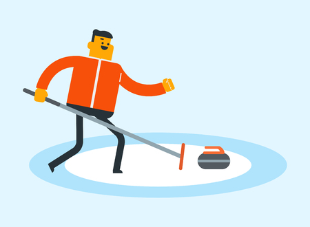 Caucasian white sportsman playing curling on the ice rink. Curling player delivering a stone, sliding over the ice and rubbing the ice with a broom. Vector cartoon illustration. Horizontal layout.
