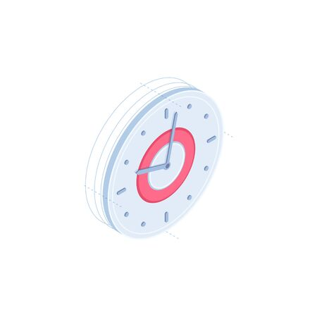 Clock vector isometric icon isolated on white background. Time isometric icon for infographic, website or app. Stock Photo