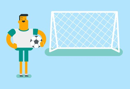 Caucasian white sportsman standing with football ball on the stadium on the background of gate. Football player standing with a soccer ball on the field. Vector cartoon illustration. Horizontal layout