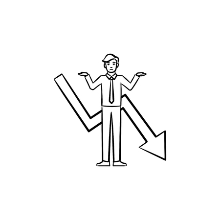 Businessman having a problem hand drawn vector outline doodle icon. Failure of a businessman sketch illustration for print, web, mobile and infographics isolated on white background. Ilustrace